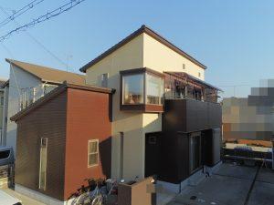 加古川市 ブラウンがアクセントになり重厚感のある2色塗り再現工法の塗装工事