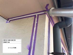 加古郡 外壁は2色使いツヤあり模様塗りのおしゃれな仕上がり