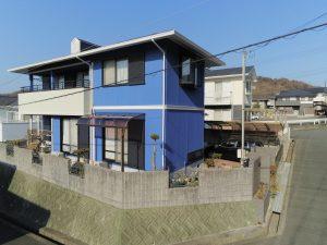 姫路市 モルタル外壁のカビ苔に悩み、凝った色分けで大満足の塗装工事